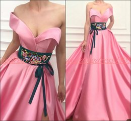 Plus Size Dresses Occasion Wear Australia - Fashion Satin Belt Embroidery Evening Dresses Sweetheart Plus Size Formal Wear Party Ball Vestido de noche Special Occasion Prom Gowns