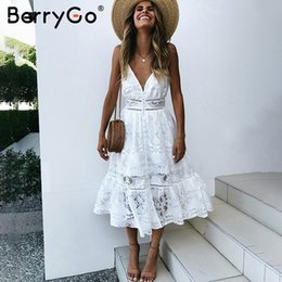 v dresses NZ - Berrygo V Neck Sexy Lace Summer Dress Women Strap Button Casual White Dress Female Streetwear Backless Midi Dress Vestidos 2019 Y19073001