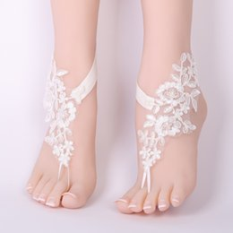 50514ae95 Gold Beach Wedding Sandals Australia - White Lace Woman Bridal Anklets  Wedding Barefoot Sandals Shoes Beach