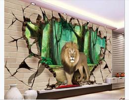 $enCountryForm.capitalKeyWord Australia - Customized 3D large silk photo mural wallpaper Woods lion breaking through the wall 3d living room TV sofa background mural