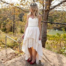 $enCountryForm.capitalKeyWord UK - Romantic High Low Wedding Dresses Sweetheart Chiffon Lace Bead sash Plus Size Vestido de novia Bohemian Country Style Bridal Gowns