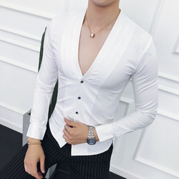 $enCountryForm.capitalKeyWord NZ - Deep V Sexy Collarless Shirt 2018 New Autumn Long Sleeve Slim Fit V Neck Pleating Solid Dress Shirt Camisa Masculina wine redMX190829