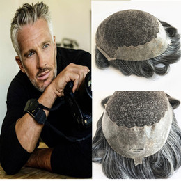 Back Hair Men Australia - Grey Hair Toupee French Lace Mens Toupee Lace Front With Pu Back Toupee For Men Replacement System Human Hair Breathable Hairpieces #1B50