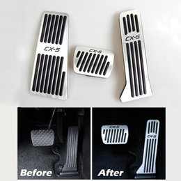 aluminum accelerator pedal NZ - No Drill Aluminum Car Accelerator Gas Brake Pedal Footrest Pedal Plate Cover At For Mazda Cx -5 2013 2014 2015 2016 2017 2018 2019