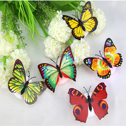 butterfly wall lamp UK - Lovely Butterfly LED Night Lights Night Light Color Changing Light Lamp Beautiful Home Decorative Wall Nightlights JK0023