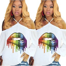 Halter Neck T Shirts Australia - Women Rainbow Lips Tshirts Summer Off Shoulder Tops Tee Sexy Street T-Shirt Ladies Loose Slash Neck Long Sleeve Oversize Halter Vest A4807