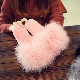 $enCountryForm.capitalKeyWord Australia - Cute Plush ostrich feather female shoes comfortable soft bottom cotton slipper flat heel warm home slides famous brand sandals