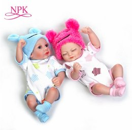 Baby Figures Australia - NPK 11'' Mini Reborn Babies Girl boy Full Silicone Vinyl Cute twins bebe Dolls Lifelike Bebe Reborns For Toddler Bathing doll