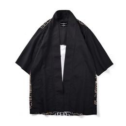 $enCountryForm.capitalKeyWord UK - Japanese Style Kimono Fashion Cardigan Men Three Quarter Sleeve Trench Coat Chinese Traditional Clothes Loose Polyester Man Tops