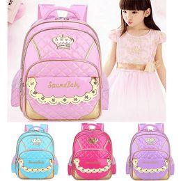 Kids Plain Yellow Backpack Australia - Princess School Bag Kindergarten Bag Backpack for Girls Children Kids School Open