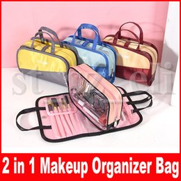 $enCountryForm.capitalKeyWord NZ - Cosmetic Organiser Stylish Brush Pouch Makeup Bags Portable Makeup Case Toiletry Wash Bag 2 in 1 Pouch For Women Girls