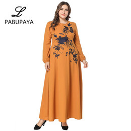 8cdc8eeeea Girls Embroidered Large Swing Loose Long-sleeved Women s Muslims Abaya Dress  Midi Fitted Casual Robe Party Nighgown Islamic Dresses