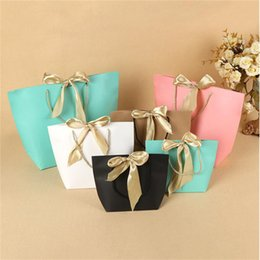 Packaging Bows Australia - 5 Colors Paper Gift Bag Boutique Clothes Packaging Bags with Bow Ribbon Elegant Cardboard Package Shopping Bags for Present Wrap