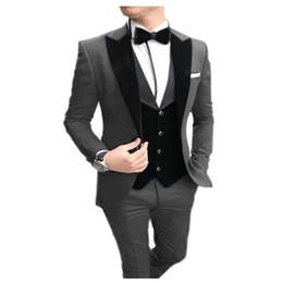 Red casual blazeRs foR men online shopping - TPSAADE Men s suit pieces Casual Slim Fit black Notch Lapel vest best man Tuxedos for wedding party suits Blazer vest Pants