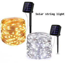 gate lamp lights lighting 2019 - Solar String Lights LED Fairy Lighting Copper Wire 8 Modes Outdoor Strip Deorative Lamp for Patio, Gate, Yard, Party, Ch