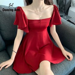 french lines Canada - Woman A-line Dress Square Collar Short Sleeve Above Knee Dress Trend 2020 Summer New Female Fashion French Retro Slim Dresses