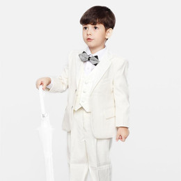 Formal Ties NZ - New Arrivals Two Buttons Ivory Notch Lapel Boy's Formal Wear Occasion Kids Tuxedos Wedding Party Suits (Jacket+Pants+Vest+Tie) K68