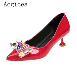 Wholesale Dress Shoes Size New Women s Pumps High Heels Young Style Colourful Rivet Woman Summer Ladies Elegant Bow Knot Footwear