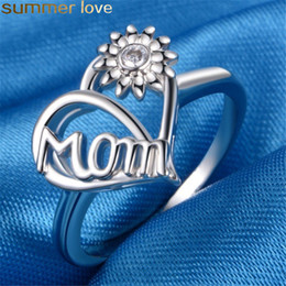 Love Rings Sale Australia - Hot Sale Heart Sunflower Ring Vintage Silver Love MOM Rings Women Jewelry For Birthday Mother's Day Gift