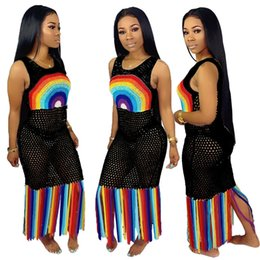 Swimwear lining online shopping - Women Mesh Dress Hollow Out Long Tassel Dresses Beachwear Summer Rainbow Color Bodycone Skirt Biniki Swimwear Cover ups S XL A52106