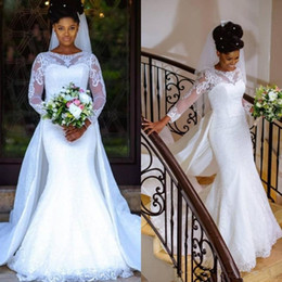 nigerian bridal train cap UK - 2020 Country Lace Mermaid Wedding Dresses with Long Sleeves Detachable Train Jewel African Nigerian Lace Bridal Gown