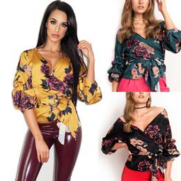$enCountryForm.capitalKeyWord Australia - Casual Fashion Women Ladies Blouses Floral Print Tuxedo Wrap Over Satin Tops Blouse Ladies Bandage Shirts Top Clothes Black