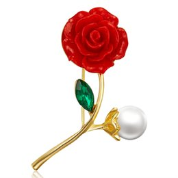 Pearl Women Clothing Australia - 2019 Rose Flower Brooch Pins for Party Cute Pearl Pins and Brooches for Women New Rhinestone Brooches Badge for Clothes