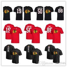 $enCountryForm.capitalKeyWord Australia - 19# Jonathan Toews 50# Corey Crawford Men's Chicago Blackhawks Sport t-shirts 88# Patrick Kane Hockey jersey Red Black Outdoor Wear shirts