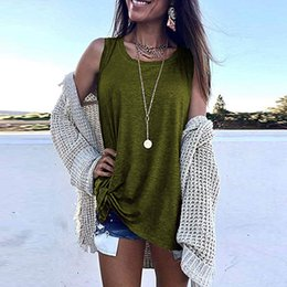 ladies summer tank tops NZ - Women tank top Summer Cold Shoulder basic tanks ladies Sleeveless O Neck Casual comfort loose large size females Top#G7