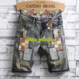 1d9c705b8b 2019 New Summer Fashion Jeans Mens Personality Patch Retro Denim Shorts  Pants Men's Designer Hole Shorts Mens Fashion Shorts