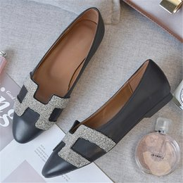 4153fd54c405 New Spring Flats Woman Zapatos Mujer Slip on Round Toe Flat Shoes Women  Bling H Letter Black Silver Leather Shoes Ladies Loafers