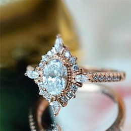 Rose Gold Cluster Engagement Rings Australia - ROMAD Vintage Crystal Rings for Women Magic Mirror Retro Rings with Gift Box Rose Gold Finger Ring Female Wedding Jewelry R4
