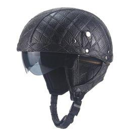 Leather Half Motorcycle Helmets Australia - Leather Motorcycle Motorbike Helmet Retro Half Helmets With Sun Shield For Biker Cruiser Scooter Touring Men Women