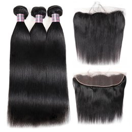 Brazilian deep kinky hair online shopping - 8 inch Brazilian Deep Wave Bundles with Lace Frontal Peruvian Loose Wave Kinky Curly Human Hair Bundles with Closure Straight Closure