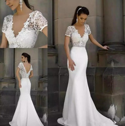 Short Lace Dresses Glamorous Australia - Glamorous V Neck Lace Mermaid Wedding Dresses Seen Through Short Sleeves Satin Backless Sweep Train Wedding Gowns with Beaded Sash