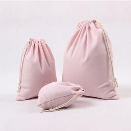 Handmade sHopping bags online shopping - Pink Handmade Cotton Linen Drawstring Bag for Men Women Travel Storage Package Bags Shopping Bag Coin Purse Christmas Gift Pouch