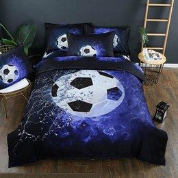 3 pz / lotto Football stampato Queen Comforter Set di biancheria da letto King Twin Size Luxury Bed Copripiumino Lenzuolo Matrimoniale Set Biancheria Tessili Per La Casa in Offerta