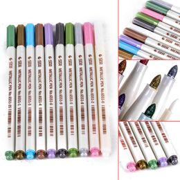 $enCountryForm.capitalKeyWord Australia - 10pcs Water Color Metallic Sketch Stationery Art Sets Colorful Marker Brush Tip Pen Pencil Set Mayitr Painting Supplies