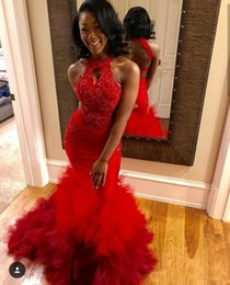 low back halter evening gown 2019 - Red High Low Mermaid Prom Dresses 2019 New Sleeveless Lace Applique Beaded Sleeveless Sexy Back Formal Evening Dress Par