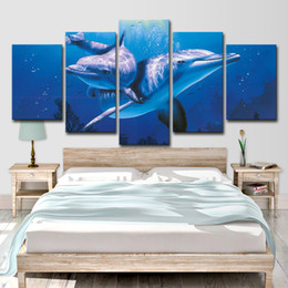 $enCountryForm.capitalKeyWord Australia - Canvas Painting Modern Art Live Wall 5 Panels Dolphins In The Ocean Landscape Decor Pictures Landscape Oil Painting