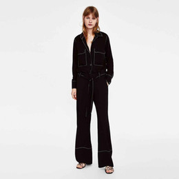 $enCountryForm.capitalKeyWord Australia - 2019 Spring Europe and The Long Leg OL Wind Tooling Tie Color Clear Line Black Broad-legged Pants Skinny Trousers Women Pants