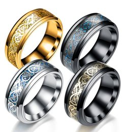 $enCountryForm.capitalKeyWord Australia - New Gold and Silver Tablets Dragon Pattern Stainless Steel Ring Mens Jewelry for Men lord Wedding Band Male Ring Bague Homme