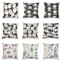 $enCountryForm.capitalKeyWord Australia - Halloween Skull Ghost Cotton Linen Square Pillow Case Sofa Car Waist Cushion Cover Home Decor Pillow Cover Pillowslip