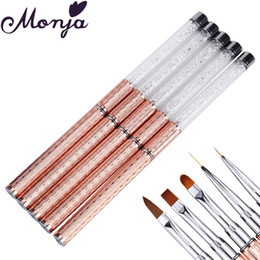 uv coating liquid UK - 5 Heads Nail Art Metal Rhinestone Painting Brush Acrylic Liquid Powder Carving UV Gel Polish Coating 3D Flower Grids Drawing Pen