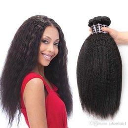 L Cheap Brazilian Virgin Hair Kinky Straight 3 Bundles 100 %Brazilian Kinky Straight Human Hair Extensions Brazilian Coarse Yaki Straig