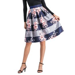 5df04bb5c Women Striped Print High Waist Flared Pleated Skirt A Line Skirt Midi High  Waist Casual A-Line Denim Bodycon Short Skirts