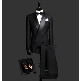 Dark Green Tie Grey Suit Australia - Custom Made Slim Fit Black 2 Piece Mens Blazer Double Breasted Suit Men Wedding Suits Groom Tuxedos For Men (Jacket+Pants+Tie)