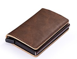 Plain wallet holder online shopping - Popular Unisex Card Holders vintaged Leather shell Automatic pop up card Holders BRID Blocking Function pc up to sell