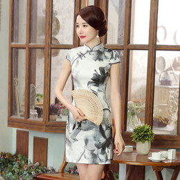 $enCountryForm.capitalKeyWord Canada - 2019 Summer high quality elegant plus size short sleeve real silk printed ink and wash painting short cheongsam daily Chinese dress qipao
