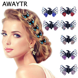 wholesale girls butterfly hair claws Australia - 6 Pcs Set Hair Clips for Women Fashion Girls Hair Accessories Kids Crystal Butterfly Pins Hair Claws